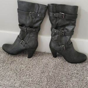 Gray mid-calf buckle boots